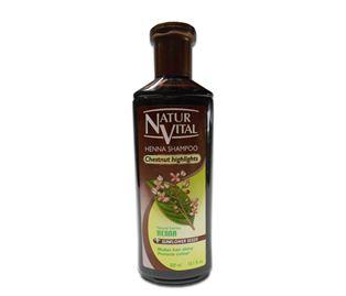 Снимка от Оцветяващ шампоан с къна за Тъмно кестенява коса - Natur Vital