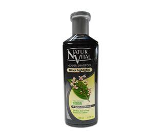 Снимка от Оцветяващ шампоан с къна за Черна коса - Natur Vital